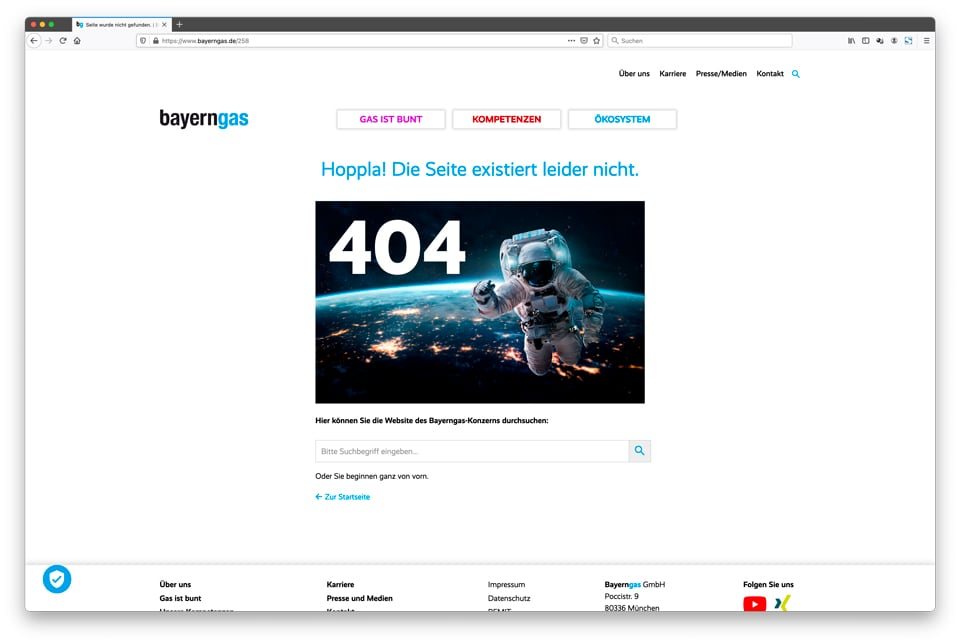 404 Seite: Corporate Website – Bayerngas