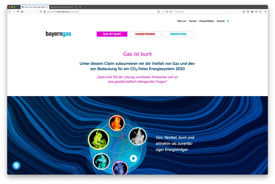 Gas ist bunt: Corporate Website – Bayerngas